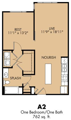 762 sq. ft. A2x floor plan