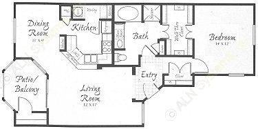 963 sq. ft. A4 floor plan