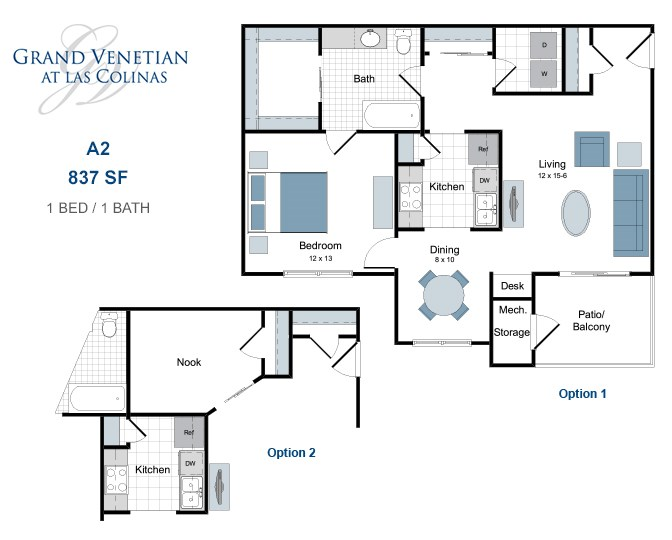 837 sq. ft. A2 floor plan