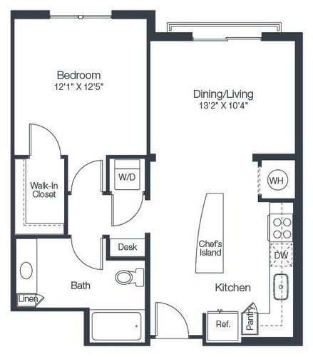 734 sq. ft. A2F floor plan