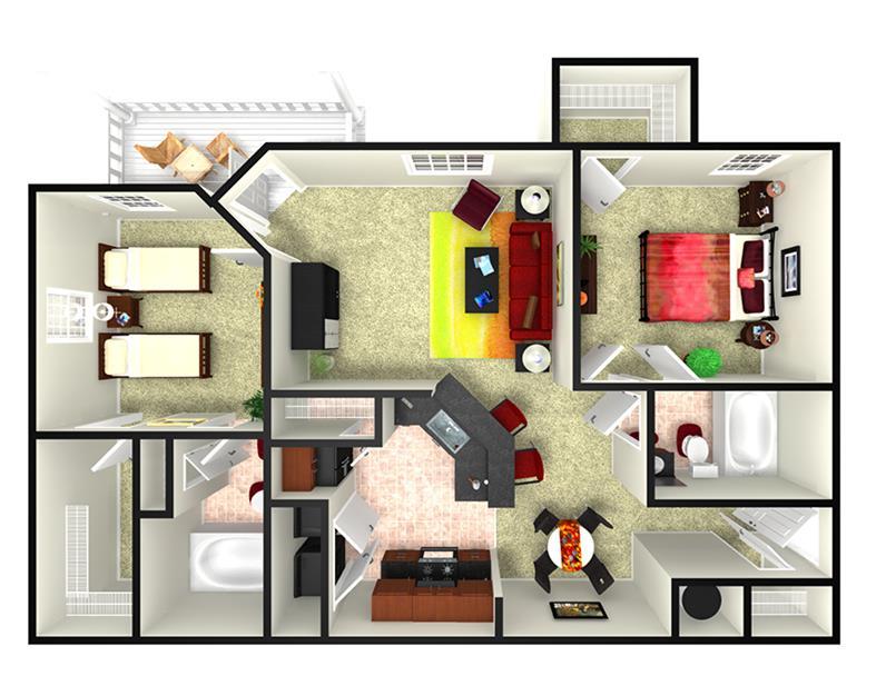 1,122 sq. ft. B4.2 floor plan