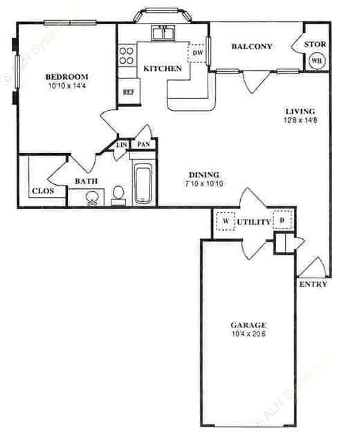 732 sq. ft. A2A floor plan