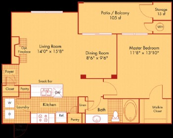 798 sq. ft. A2/A2G floor plan