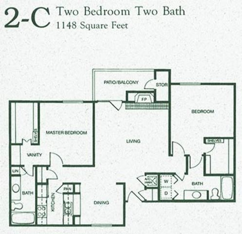1,148 sq. ft. 2C floor plan