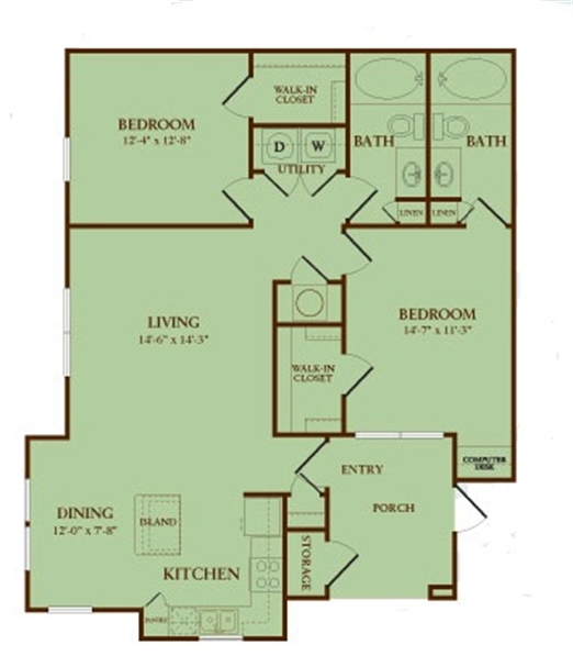 1,102 sq. ft. Redstone floor plan