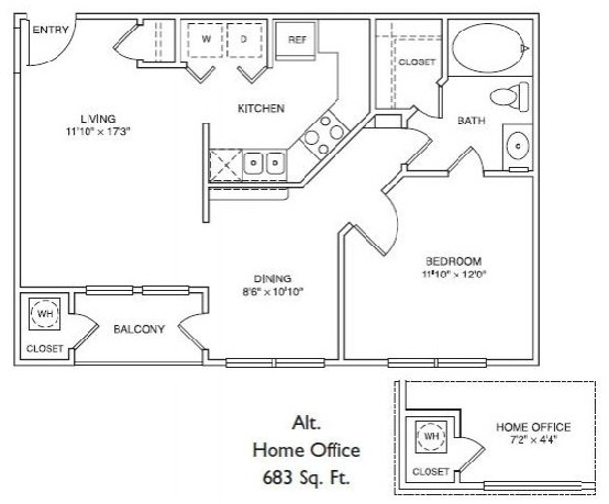 644 sq. ft. LA1 floor plan