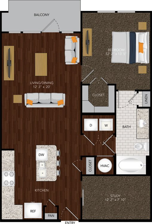 888 sq. ft. A5 floor plan