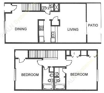 1,341 sq. ft. B2 floor plan