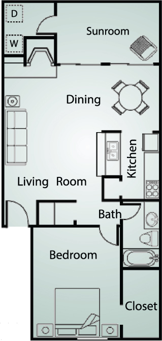 977 sq. ft. A6 floor plan
