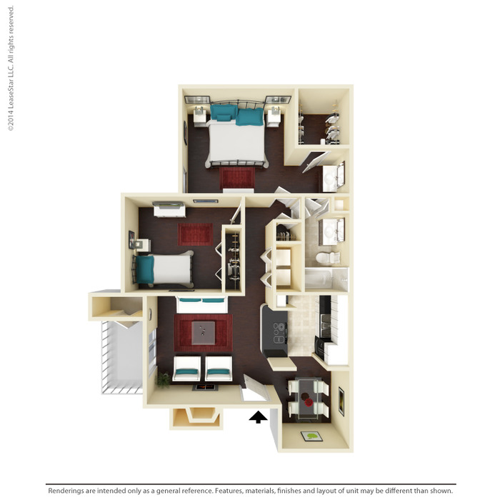 876 sq. ft. B2 floor plan