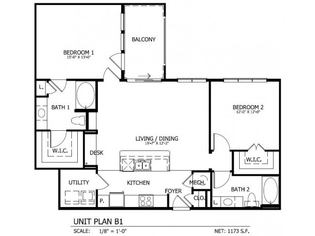1,174 sq. ft. B.1 floor plan
