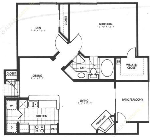 894 sq. ft. A6 floor plan