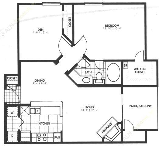 894 sq. ft. A6 floor plan
