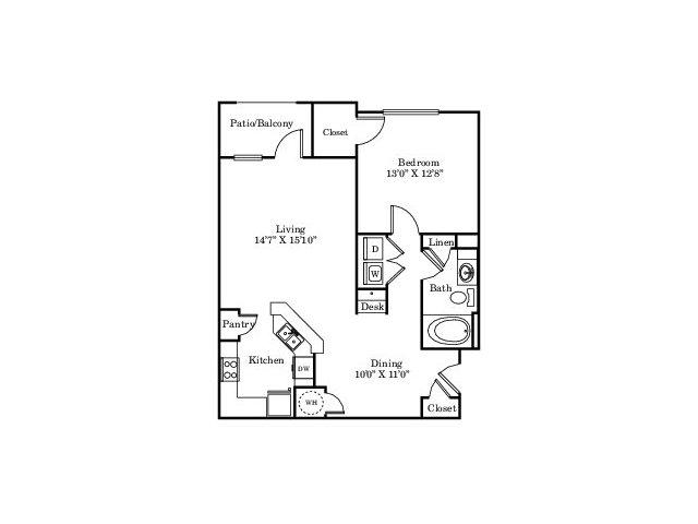 880 sq. ft. A1 floor plan