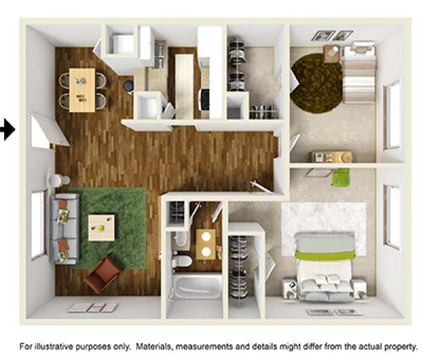 776 sq. ft. floor plan