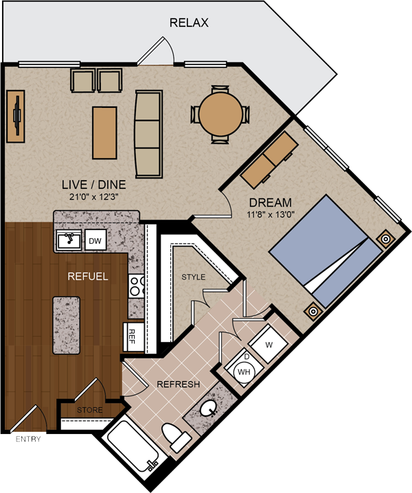 800 sq. ft. A1B floor plan