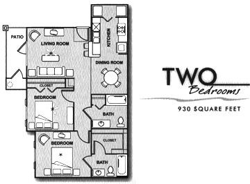 930 sq. ft. B/60% floor plan