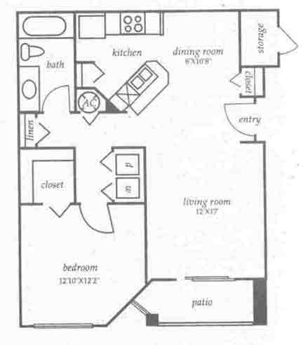 769 sq. ft. A1 floor plan