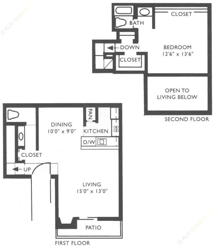910 sq. ft. SA3 floor plan