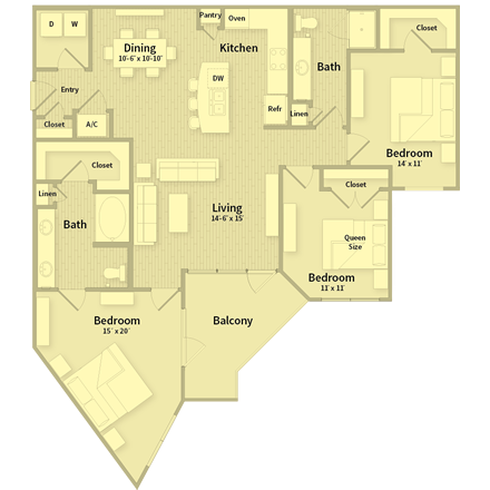 1,443 sq. ft. floor plan