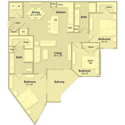 1,443 sq. ft. floor plan