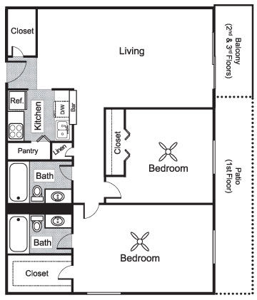1,027 sq. ft. D1 floor plan
