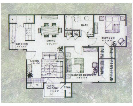 895 sq. ft. Maple floor plan