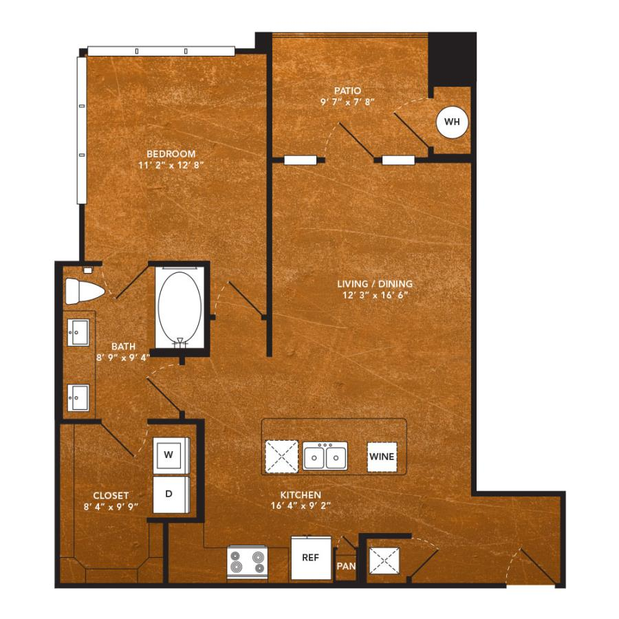 779 sq. ft. A8 floor plan