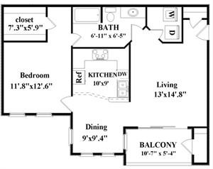 796 sq. ft. Bullock floor plan