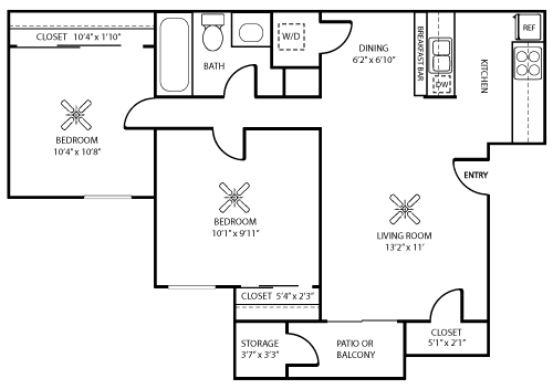 740 sq. ft. B & B1 floor plan
