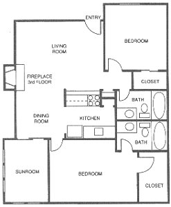 991 sq. ft. H floor plan