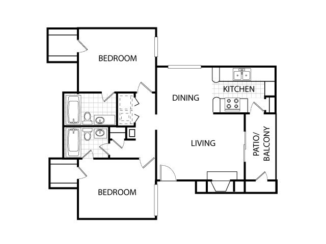 931 sq. ft. B2 floor plan