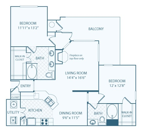 1,308 sq. ft. B3 floor plan