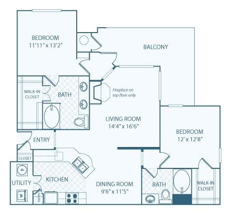 1,308 sq. ft. B3 floor plan