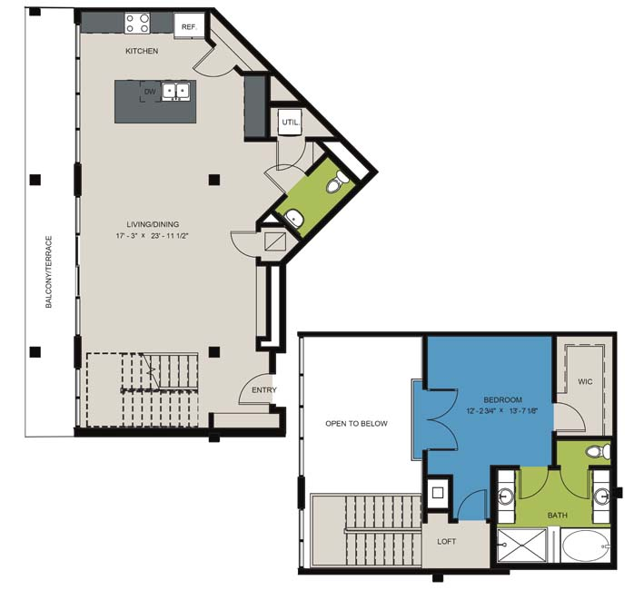 1,378 sq. ft. A9 floor plan