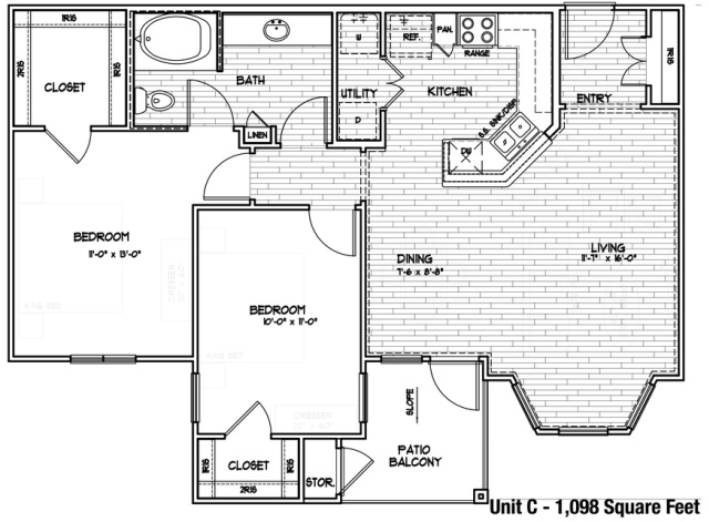 1,020 sq. ft. C/50% floor plan