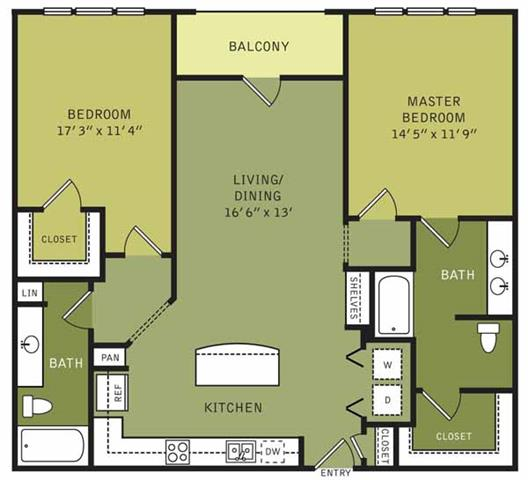 1,231 sq. ft. floor plan