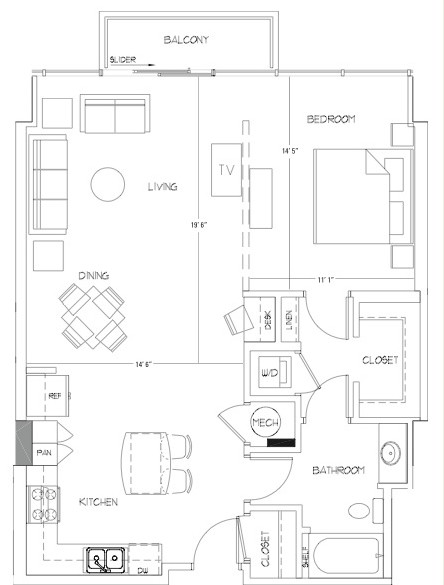 911 sq. ft. A11 floor plan