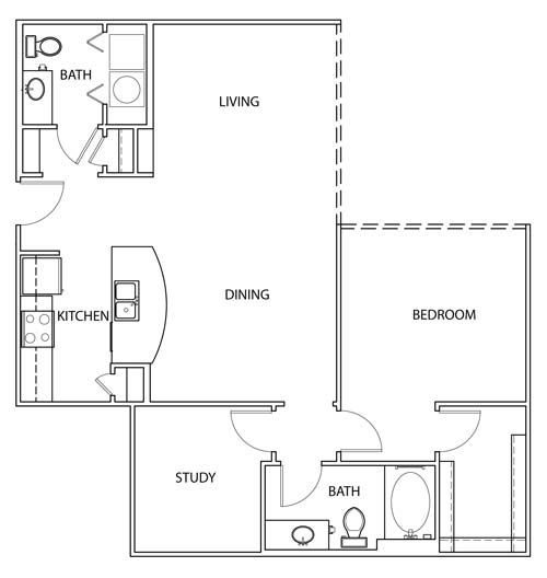 1,056 sq. ft. A3 floor plan