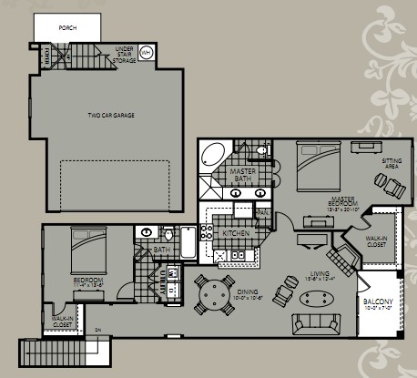 1,381 sq. ft. Kalinda floor plan