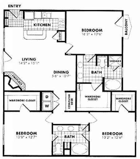 1,562 sq. ft. C1 floor plan