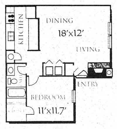 663 sq. ft. A1 floor plan