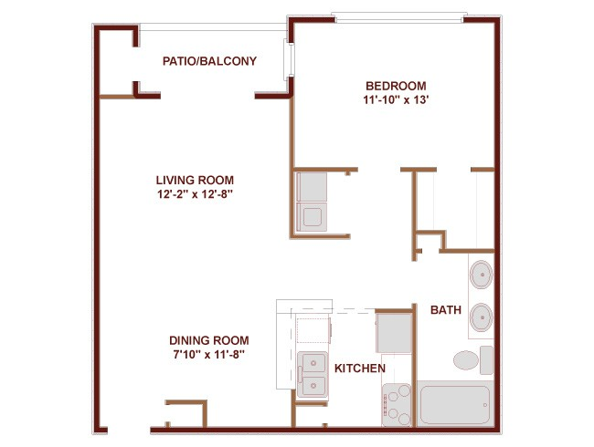 790 sq. ft. Texas Special floor plan