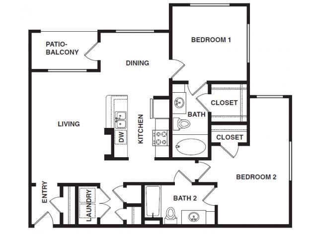 1,165 sq. ft. B3-HC floor plan
