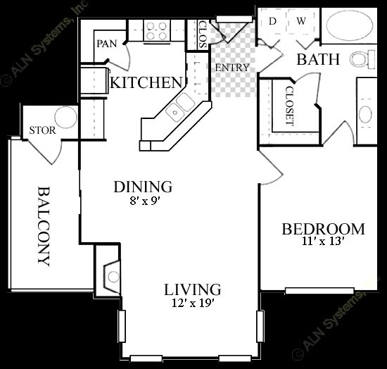 770 sq. ft. A4 floor plan