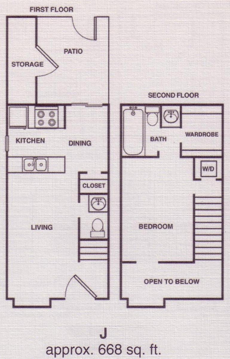 668 sq. ft. B1 floor plan