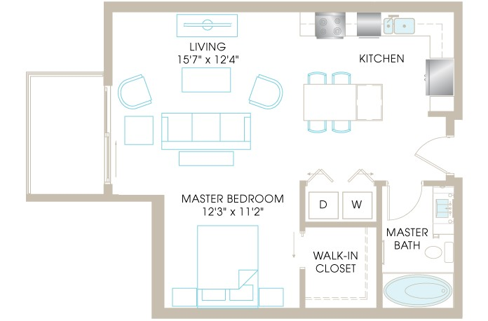 706 sq. ft. A3 floor plan