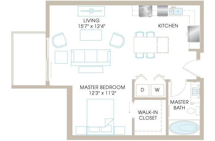 706 sq. ft. E3 floor plan