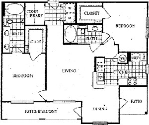 1,320 sq. ft. J floor plan
