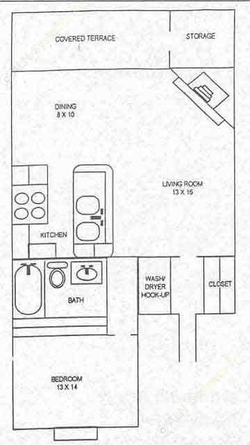 905 sq. ft. A floor plan
